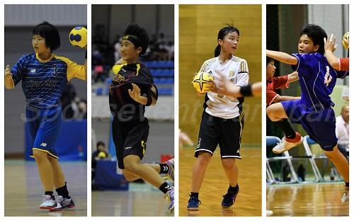 4強入りを果たした女子4校。左から岩国・岩根、鶴城・坂守、芦城・竹内、美東・金城