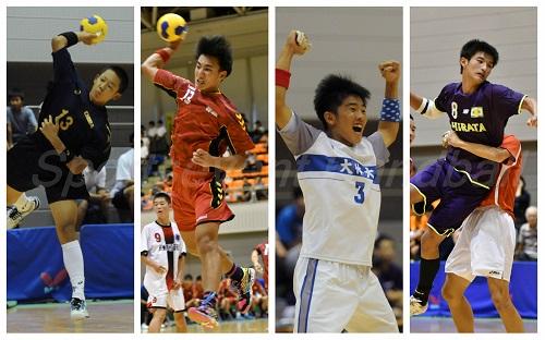 最終日に残った男子4チーム。左から若松・二木、神森・伊禮、大体大浪商・下川、平田・山田